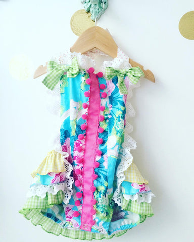 Sugar & Milk Turquoise Floral Sunsuit