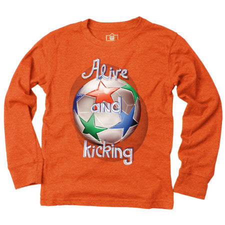 Alive and Kicking Soccer  Long Sleeved Orange Tee