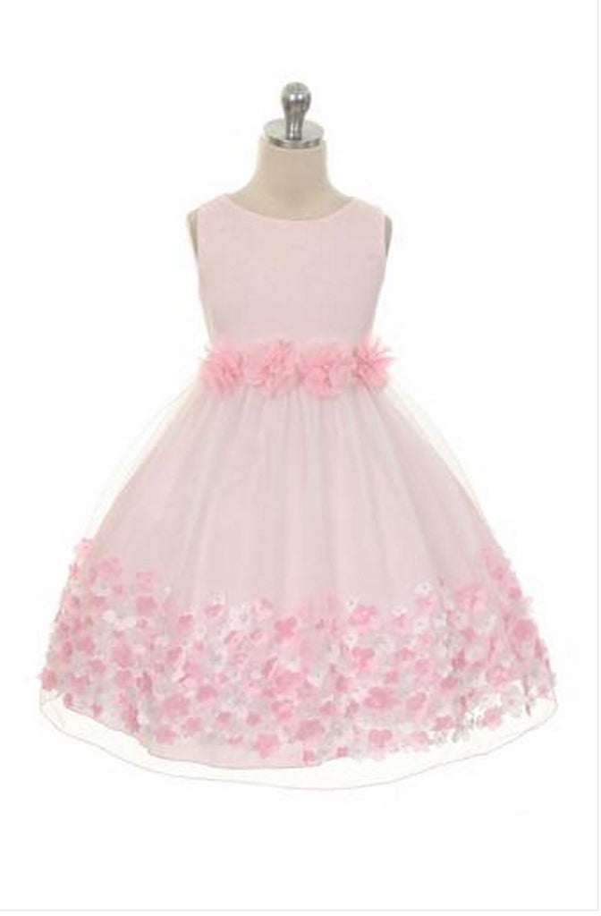 Pink Dress with Taffeta Flowers