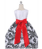 Black and White Velvet Flocked Holiday Dress Red Sash