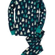 Patterned Trees PJ Set in Blue