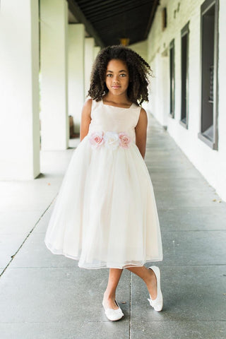 Ivory Silk and Tulle Classic Style Dress