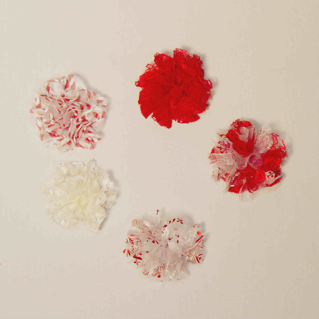 Medium Organza and Lace Rose Hair Clips