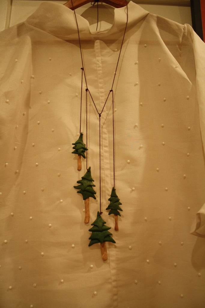 Polymer Clay Pine Tree Necklace