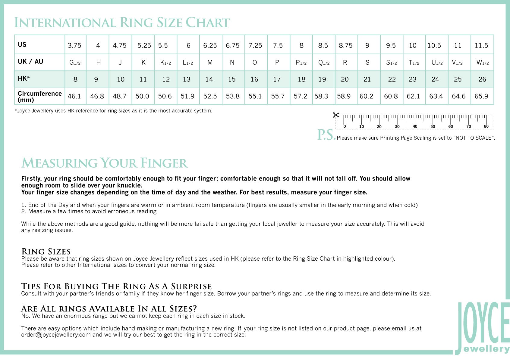 Ring chain sizing chart joyce jewellery for jewellery and watch for all in house jewellery rings please refer to the chart below geenschuldenfo Images