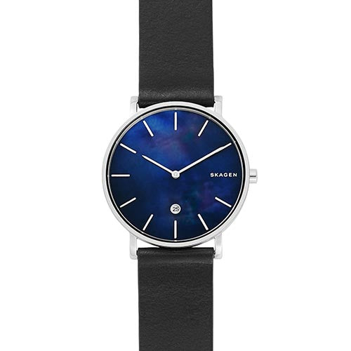 SKAGEN Hagen Slim Mother-of-Pearl Black Leather Watch SKW6471