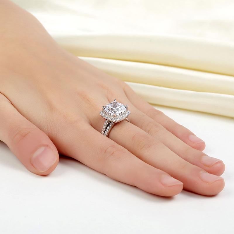 925 Sterling Silver 2 Pcs Wedding Engagement Ring Set 5 Ct Created