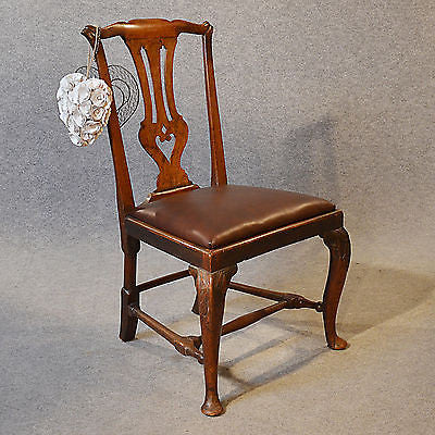 Antique Chair Dining Side Fine English Leather & Mahogany pre Chippendale c1740 - Antique & Unique