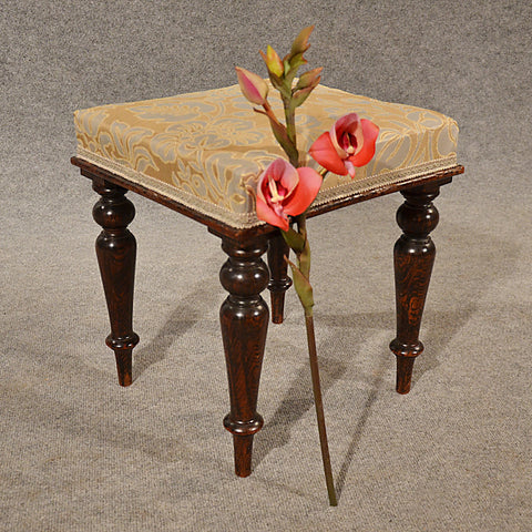 Antique Dressing Music Stool Footstool Faux Rosewood English Victorian c1880