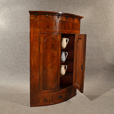 Antique Bow Corner Cupboard Quality English Display Cabinet Fine Mahogany c1830 - Antique & Unique