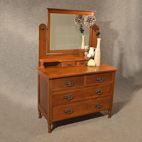 Antique Oak Dressing Table Vanity Chest of Drawers English Edwardian c1910
