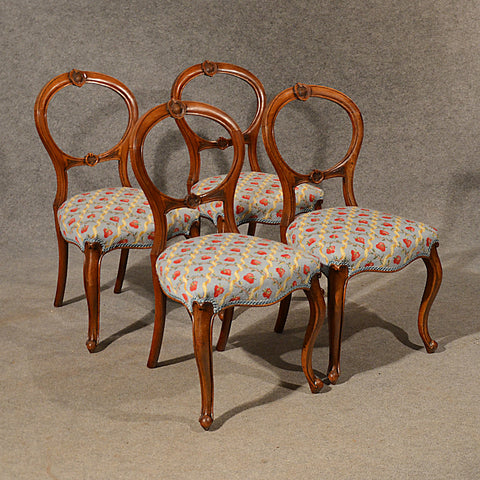 Antique Dining Chairs Walnut Balloon Back Tapestry Needlepoint English c1850 - Antique & Unique