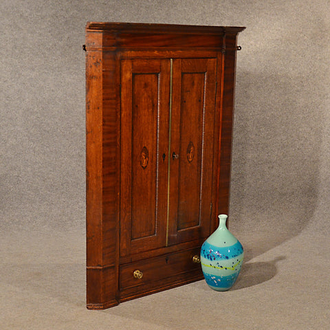 Antique Oak Corner Cupboard Quality Large English Georgian Display Cabinet c1780