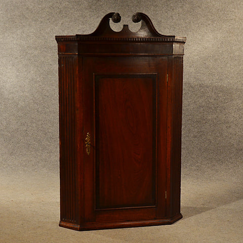 Antique Corner Cupboard Mahogany Swan Neck English Georgian Cabinet c1800