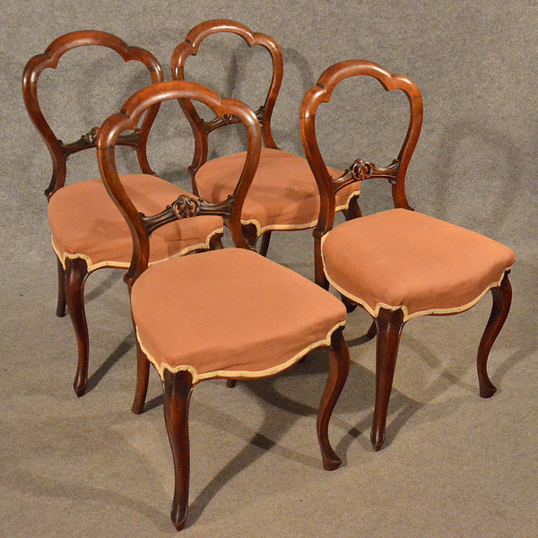 Antique Dining Chairs Walnut Balloon Buckle Back & Cabriole Leg Victorian c1840 - Antique & Unique