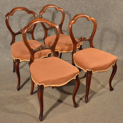 Antique Dining Chairs Walnut Balloon Buckle Back & Cabriole Leg Victorian c1840