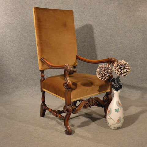 Antique Armchair Easy Chair Throne Elbow Large Wide Quality Walnut Frame c1880