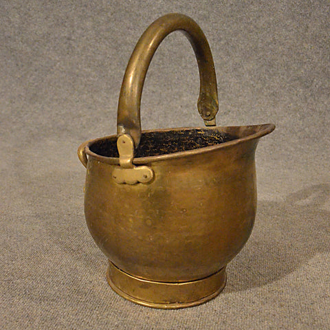 Antique Brass Fire Coal Bucket Fireside Log Bin Victorian English c1900