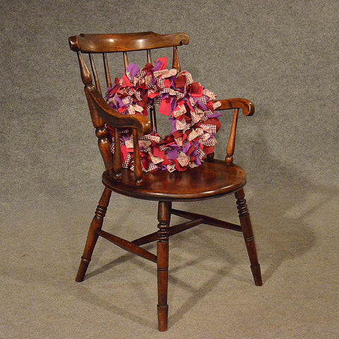 Antique Elm Windsor Elbow Chair Quality Kitchen Dining Victorian Armchair c1880