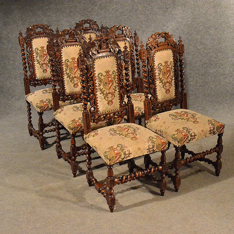 Antique Oak Chairs Set 6 Kitchen Dining Quality Victorian Jacobean Revival c1870