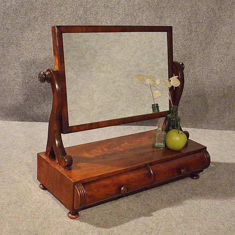 Antique Victorian Toilet Mirror Dressing Ladies Vanity Jewelry Box English c1850