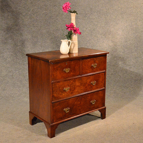 Antique Small Chest of Drawers Quality Burr Walnut & Oak English Victorian c1900