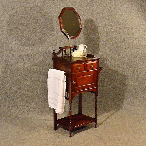 Antique Narrow Wash Stand Tall Cabinet Vanity Cupboard Edwardian Mahogany c1910