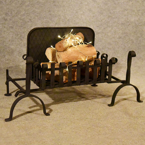 Antique Fire Basket Chimney Hearth Fireplace Iron Grate c1900