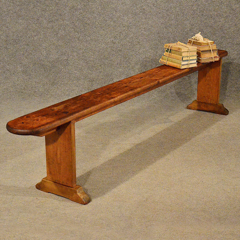 "Antique 7' 4"" Pine Bench Pew Stool Long Seat Quality English Victorian c1900 - Antique & Unique"