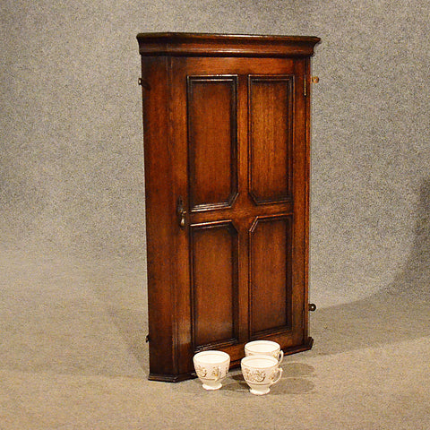 Antique Corner Cupboard English Oak Wall Display Cabinet Art Deco Period c1940