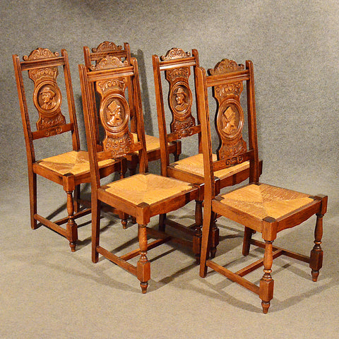 Antique Oak Dining or Kitchen Chairs Set of 5 Quality Comfy Rush Seats c1910