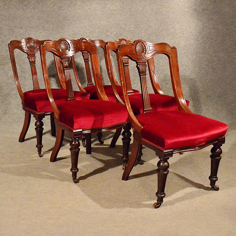 Antique Dining Chairs Set of 5 Quality Mahogany Victorian Aesthetic Period c1880