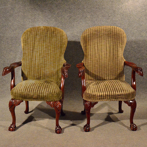 Antique Pair Armchairs Easy Chairs Quality Mahogany Frame Art Deco c1950