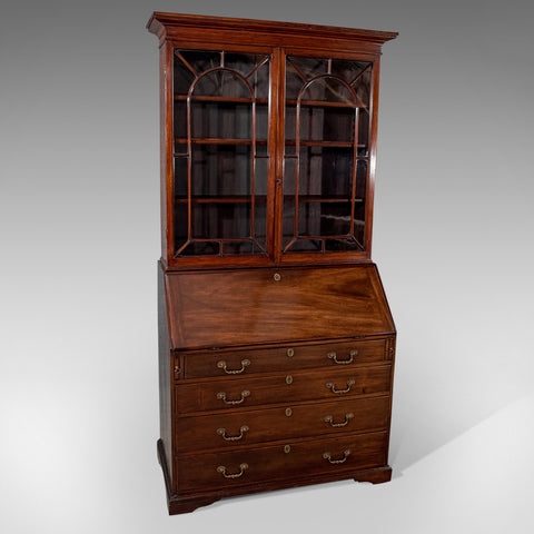 Antique Bureau Bookcase Display Cabinet Mahogany Quality English Georgian c1800 - Antique & Unique