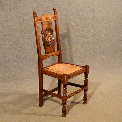 Antique Oak Rush Seat Country Chair Quality Kitchen Dining Edwardian c1910