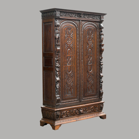 "Antique Large 8' 2"" Tall Oak French Wardrobe Armoire Carved Cabinet Larder c1850"