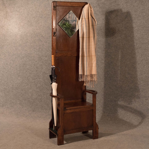 Antique Oak Hall Stand Stick Rack Coat Hooks Mirror Seat Storage Edwardian c1910