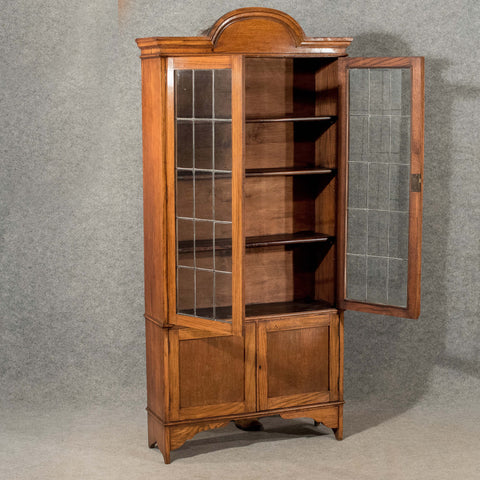 Antique Bookcase Display Cabinet Oak English Quality Lead Glass Edwardian c1910