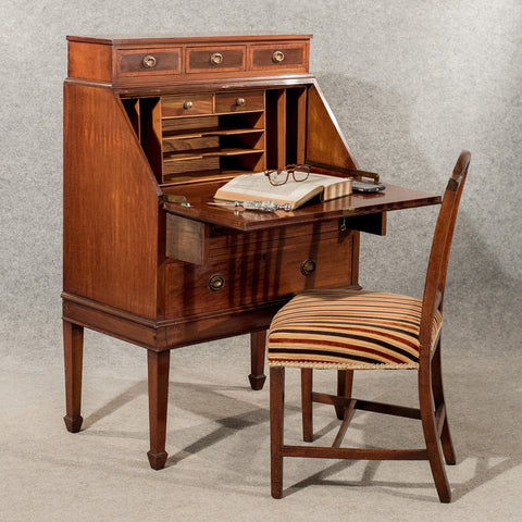 Antique Writing Desk Bureau Edwardian Mahogany Quality Bon Heur Du Jour c1910