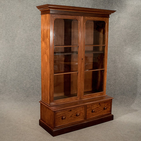 Antique Large Display Bookcase Cabinet Mahogany Victorian c1860