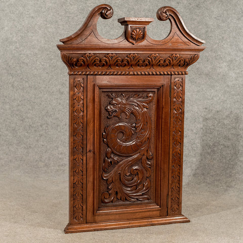 Antique Walnut Carved Corner Cabinet Cupboard Quality Edwardian Oriental c1910