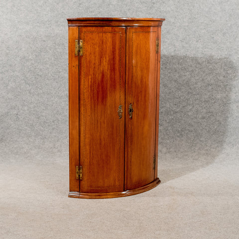 Antique Bow Front Corner Cabinet Cupboard Mahogany 18thC English Georgian c1780 - Antique & Unique