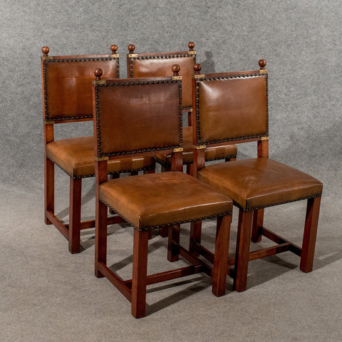 Antique Oak & Leather Set 4 Four Dining Kitchen Chairs Comfy & Quality Mid 20th Century