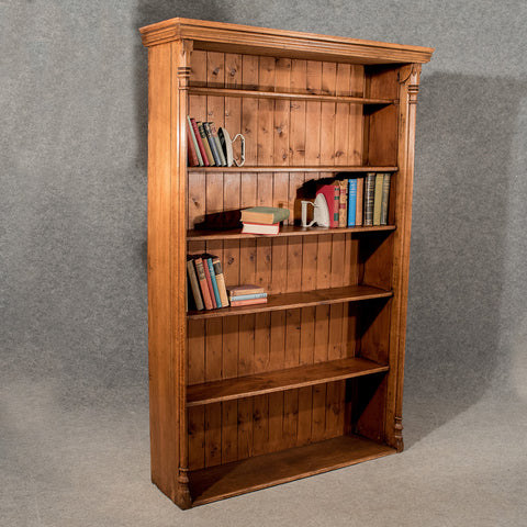 "Antique Oak Large 6' 6"" Tall Bookcase Display Shelves Quality Victorian c1900"