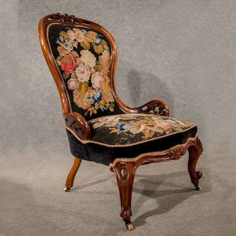 Antique Walnut Spoon Back Armchair Chair Needlepoint Tapestry Victorian c1840