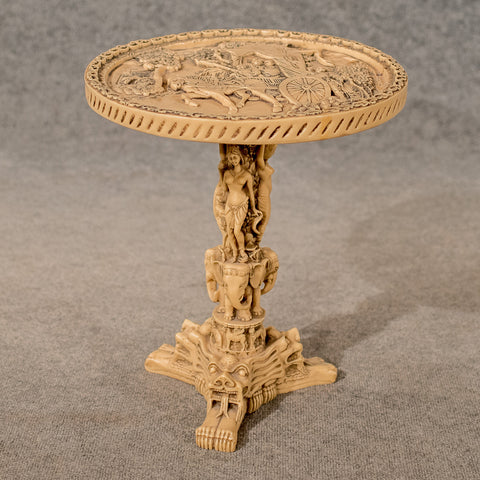 Antique Oriental Wine Side Lamp Table Chinese Vintage Carved Stone Resin 20th Century