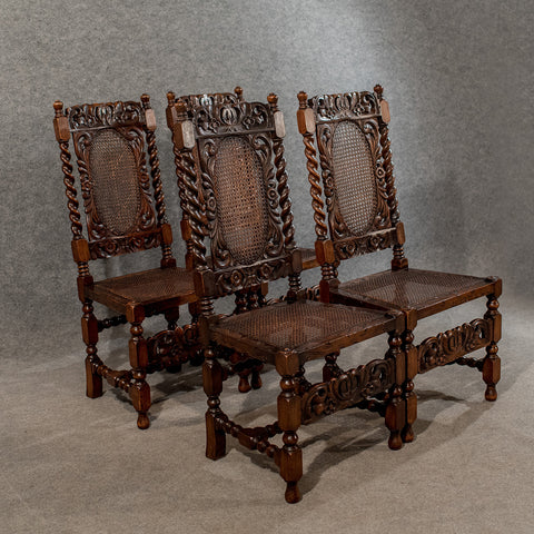 Antique Jacobean Dining Chairs Victorian Revival Bergere & Barley Twist c1890