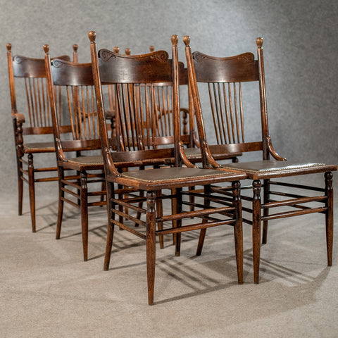 Antique Oak American Stick Back Country Dining Chairs Set of 6 Inc Carvers c1900