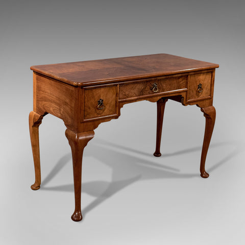 "Antique Writing Desk Library Table 42"" Fine Burr Walnut English Edwardian c1910"