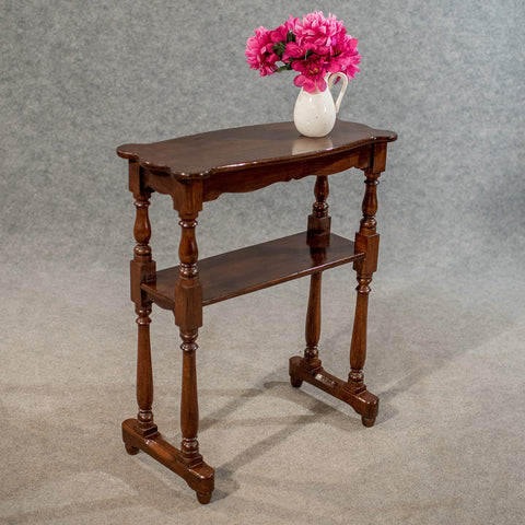 Antique Narrow Side Table Reading Stand Quality Dark Oak English Victorian c1880